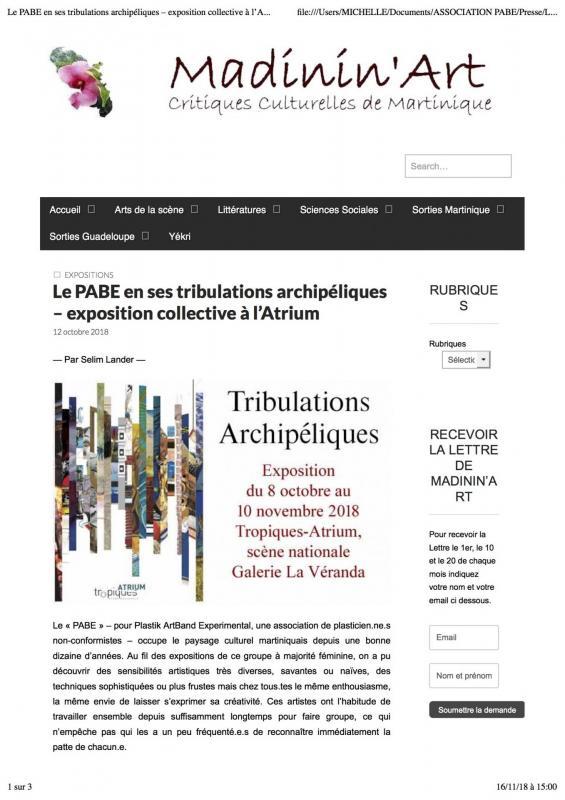 Le pabe en ses tribulations archipe liques exposition collective a l atrium madinin art critiques culturelles de martinique p1